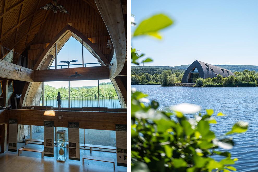 Uitzicht vanuit en op het natuurbeschermingscentrum Biodiversum in Luxemburg