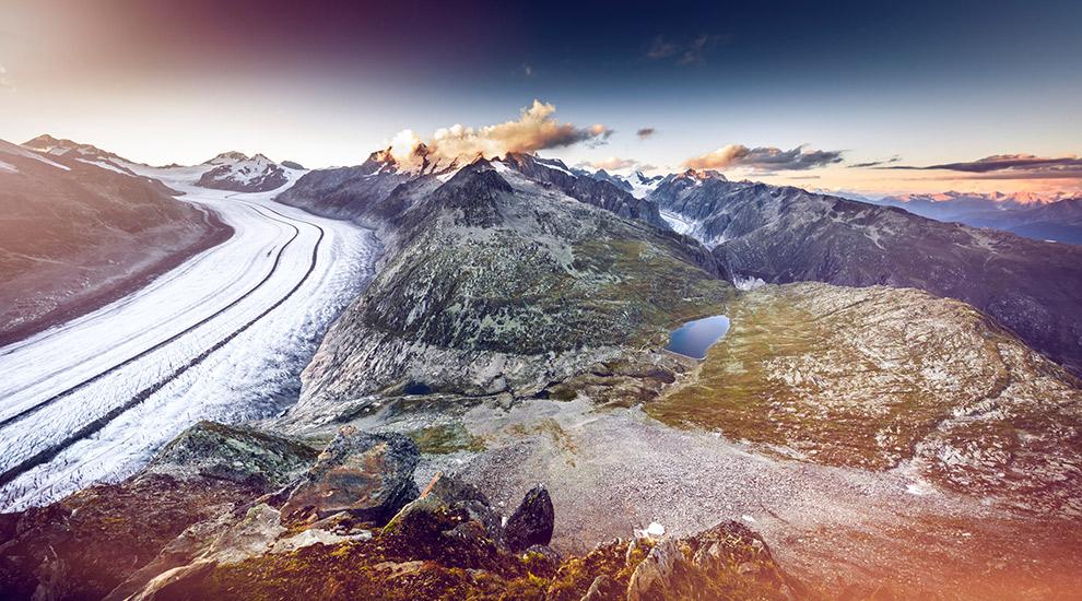 De grootste gletsjer van Europa: Aletschgletsjer in Zwitserland