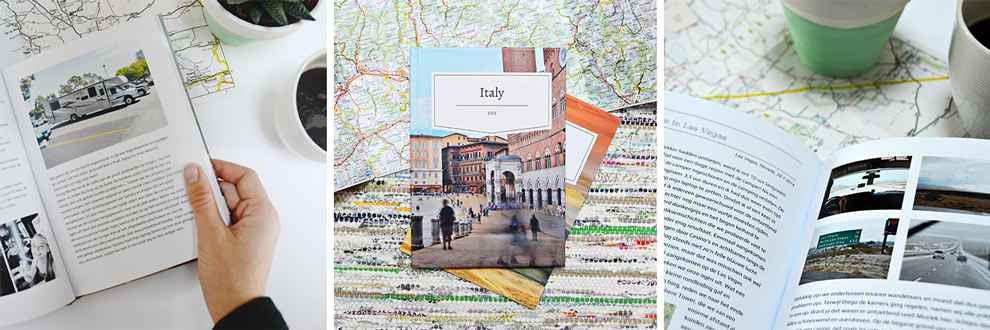 Travel Diary book designs with photos, texts and maps