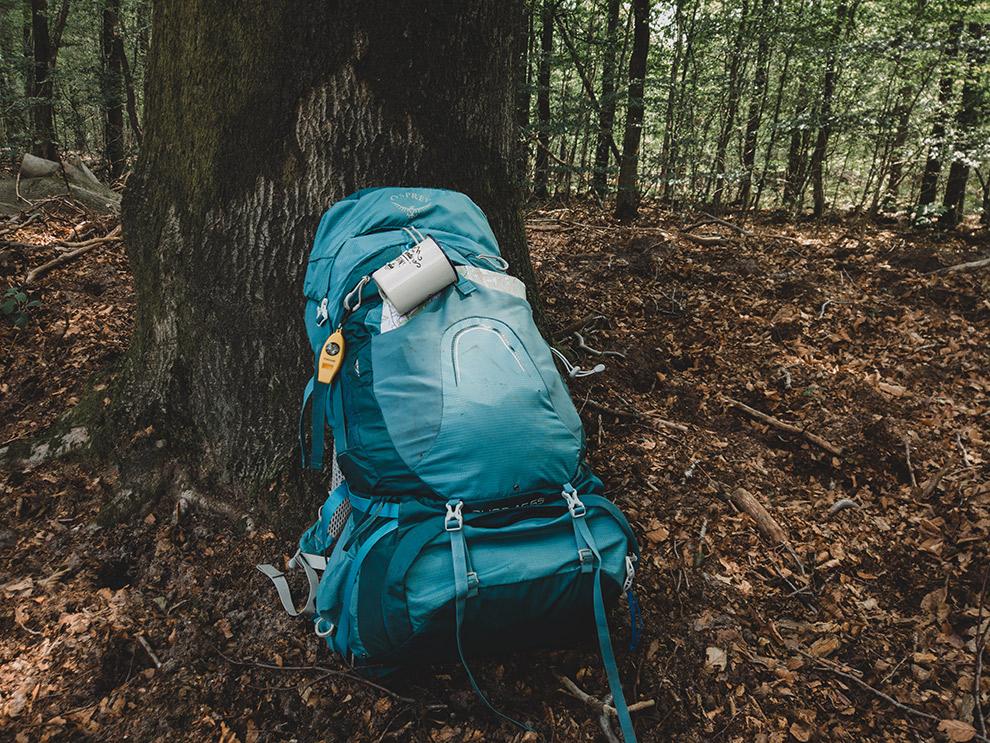 Backpack die rust tegen een boom