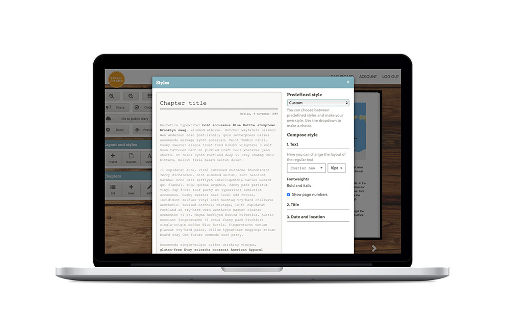 Select your own style and design for creating a diary in the Travel Diaries editor