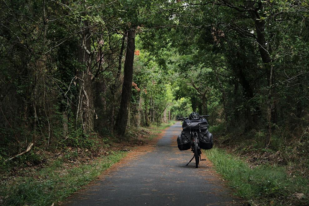 Met de fiets op pad door de groene bossen van Frankrijk