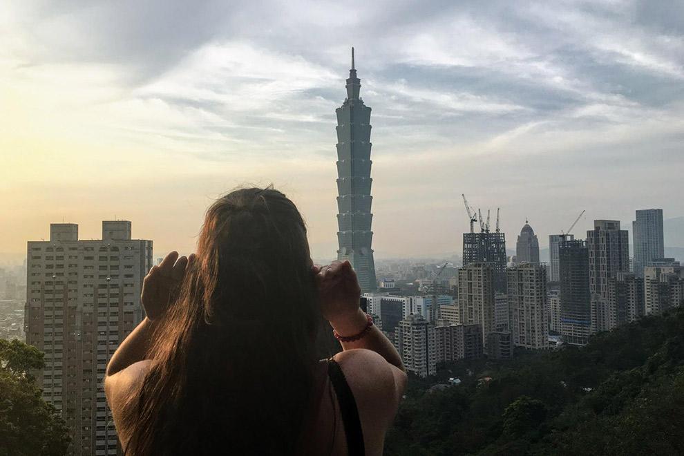 Uitzicht op bekende Taipei 101 Tower