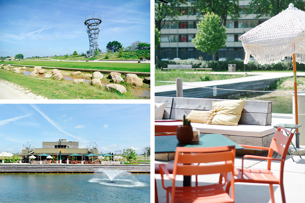 Zomers terrasje bij T-Huis in Spoorpark Tilburg