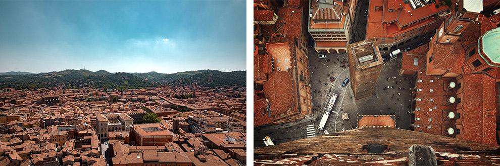 Uitzicht over de rode daken van Bologna