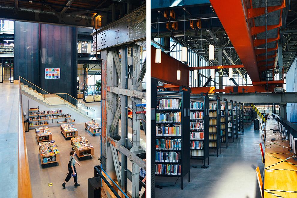De industriële bibliotheek Midden Brabant in het Lochal gebouw
