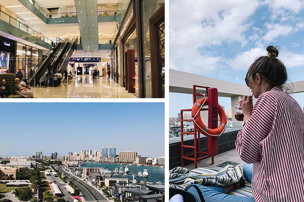 De Dubai shopping mall met uitzicht op de stad