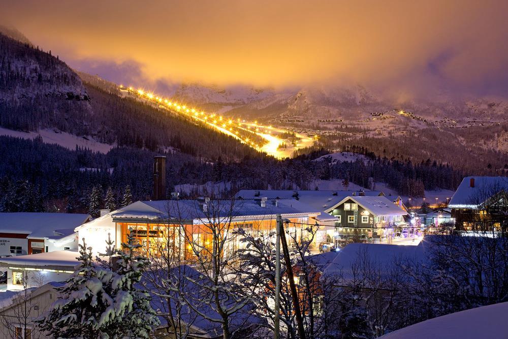 View over Alpine resort of Hemsedal