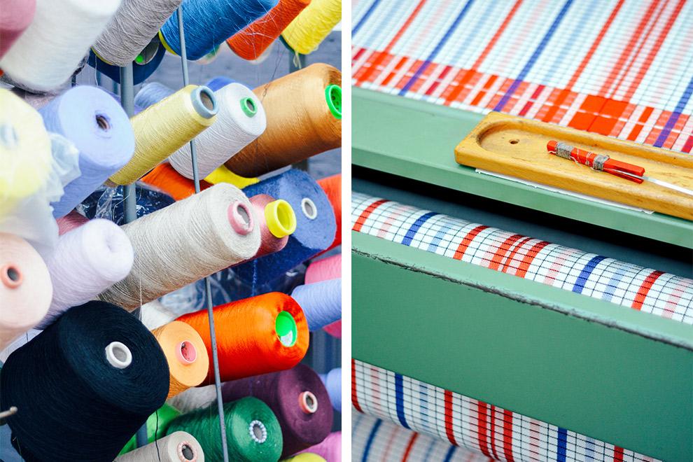 Kleurrijke garen en weefmachines in Textielmuseum Tilburg