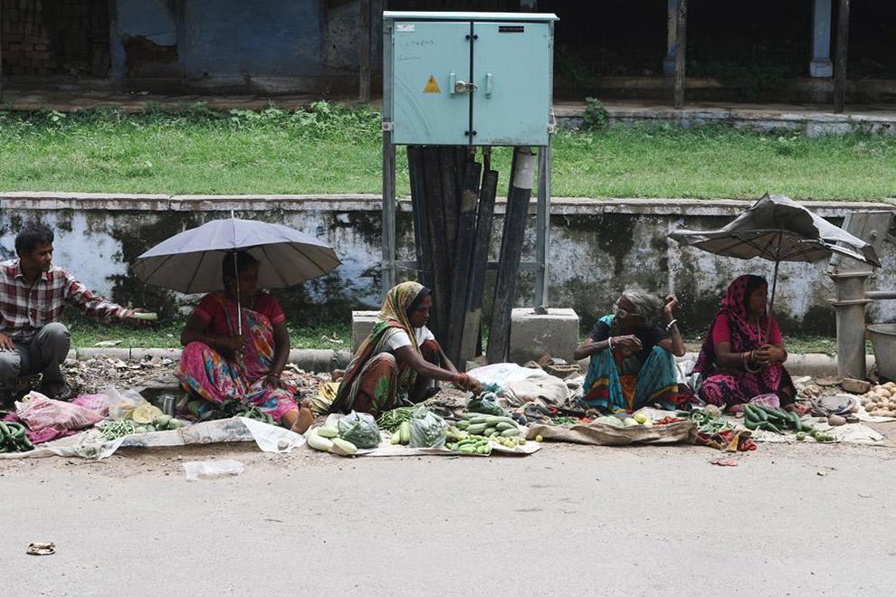Lokale Indiase bevolking verkopen producten langs de weg