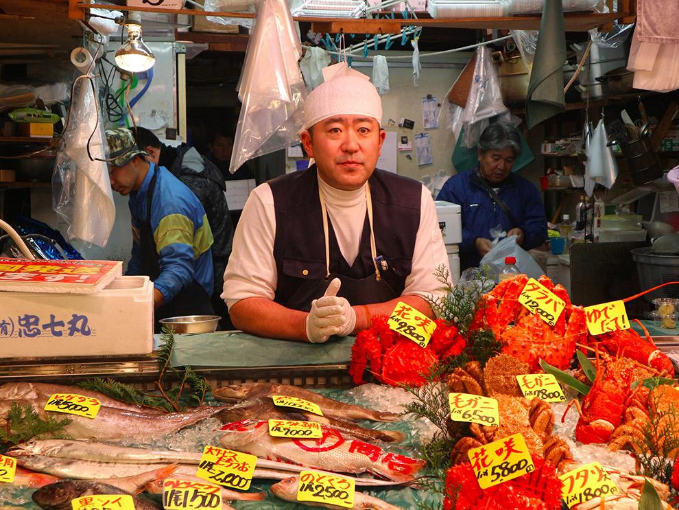 Marktkraam van lokale Japanner in Tokio