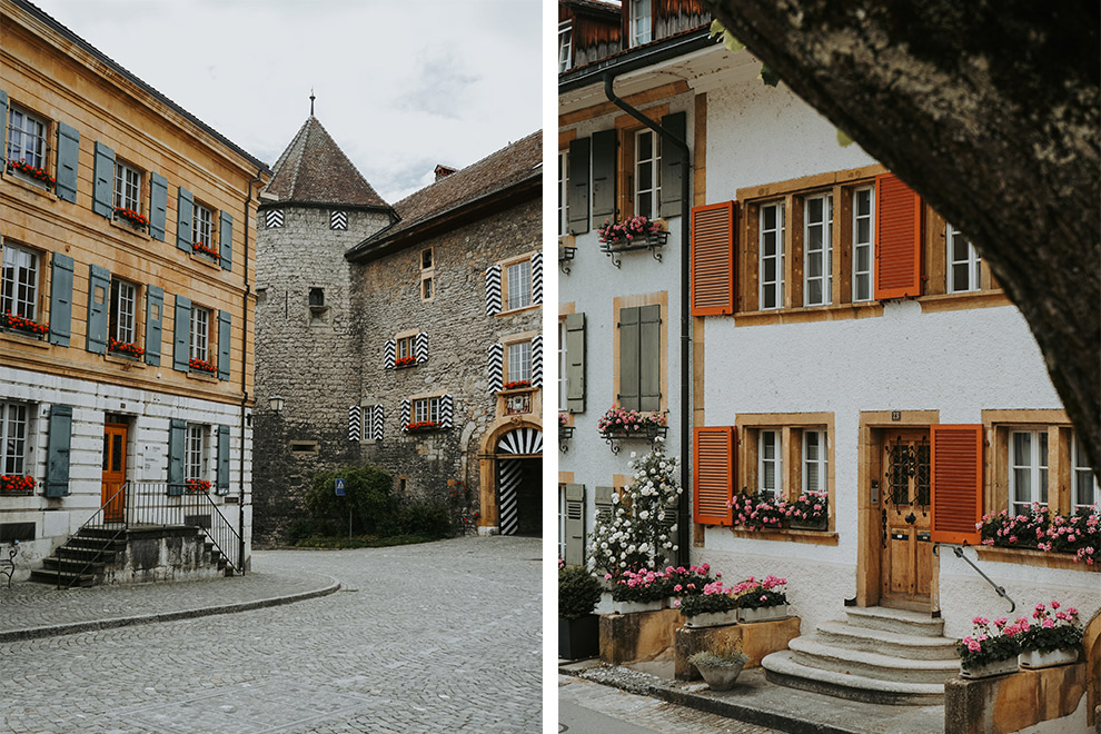Kleurrijke en sfeervolle straatjes van Murten, Zwitserland
