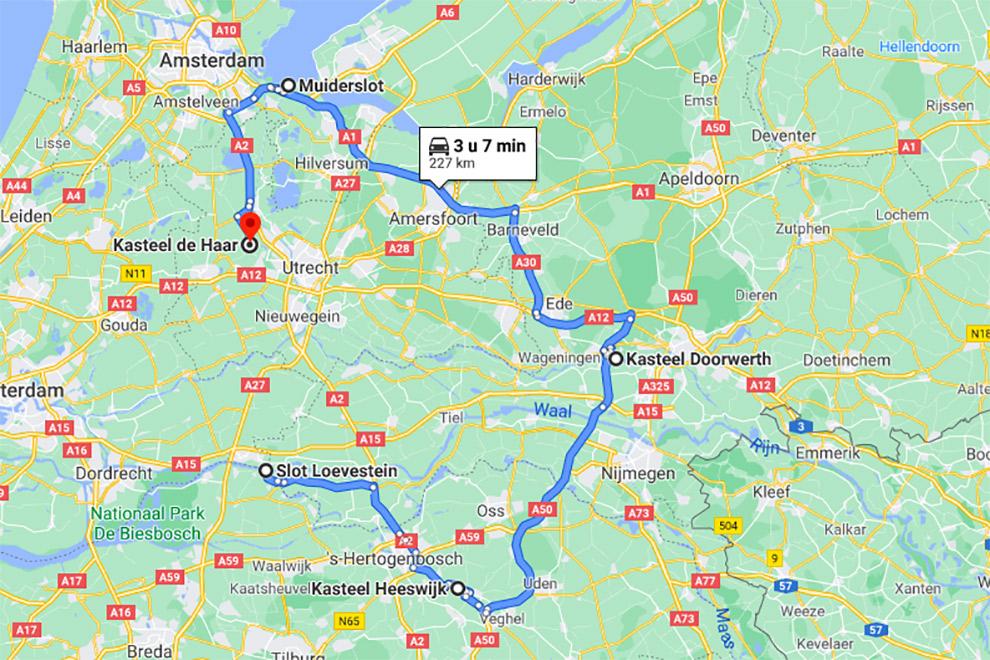 Route met vijf kastelen in Nederland, ideal voor een kastelen-roadtrip