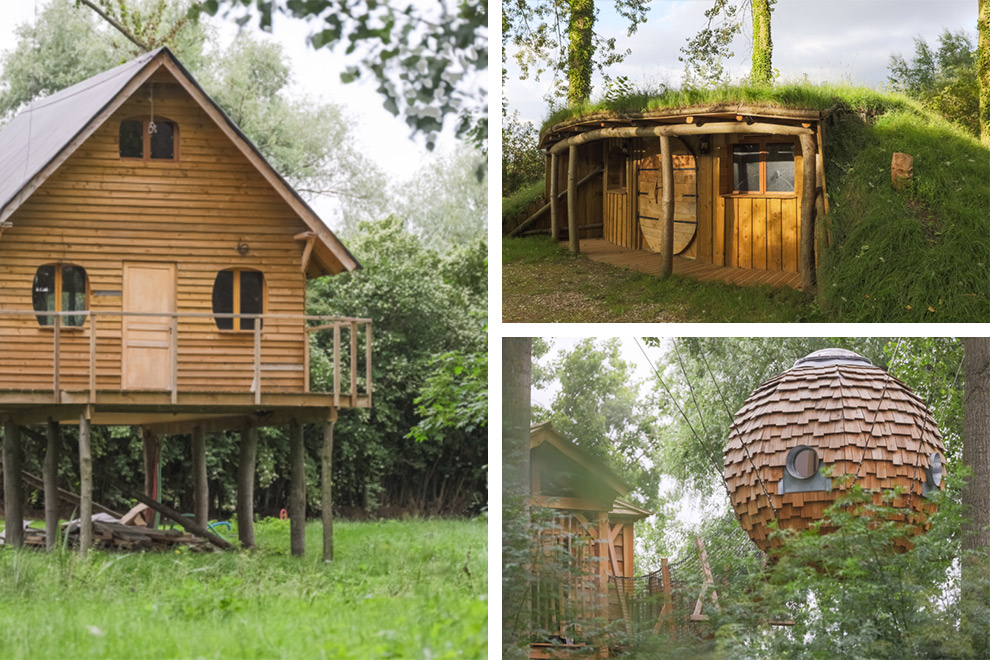 Verschillende houten hutjes in vakantiepark naturezza