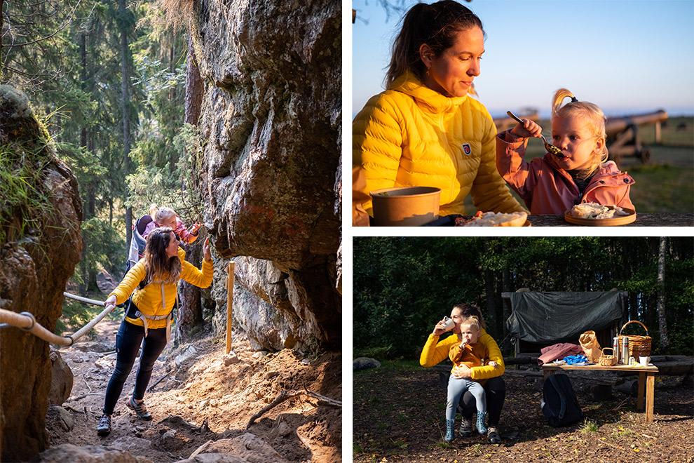 Een collage: gele jas van Fjällräven houdt je warm op koude en natte dagen