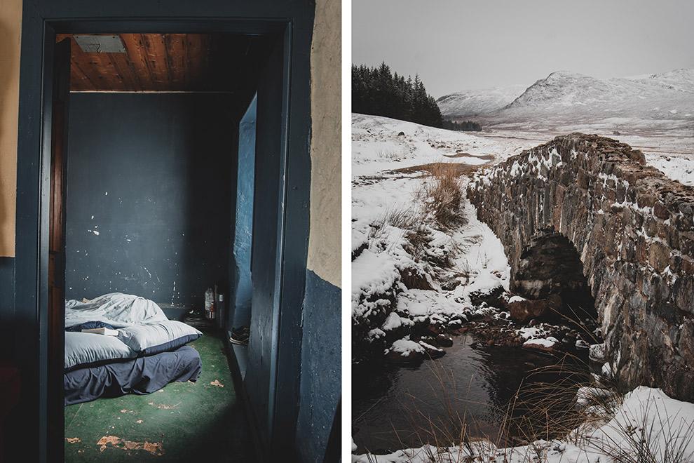 Slapen in een hut in Schotland op een sneeuwachtige dag