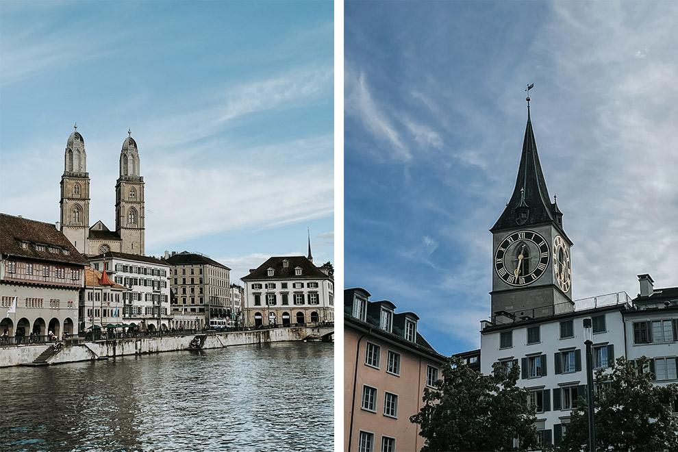 De torens en huizen aan het water in de binnenstad van Zurich