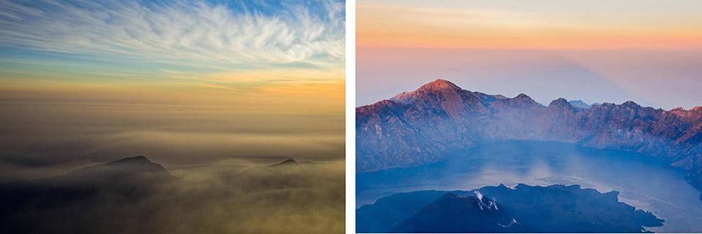 Magische zonsopgang boven vulkanen in Lombok, Indonesië