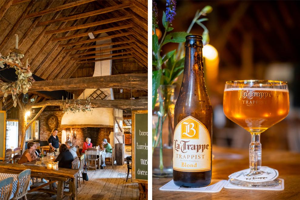 Collage De Buitenman. Foto links restaurant de Buienman en foto rechts een biertje
