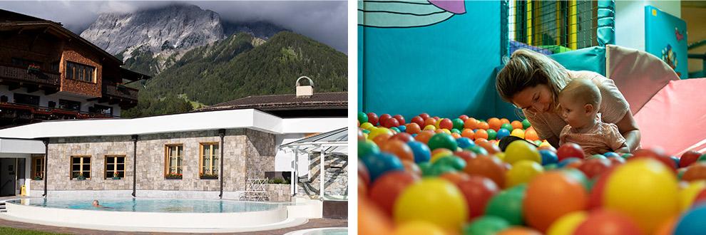 Spelen in de ballenbak van familiehotel in Oostenrijk