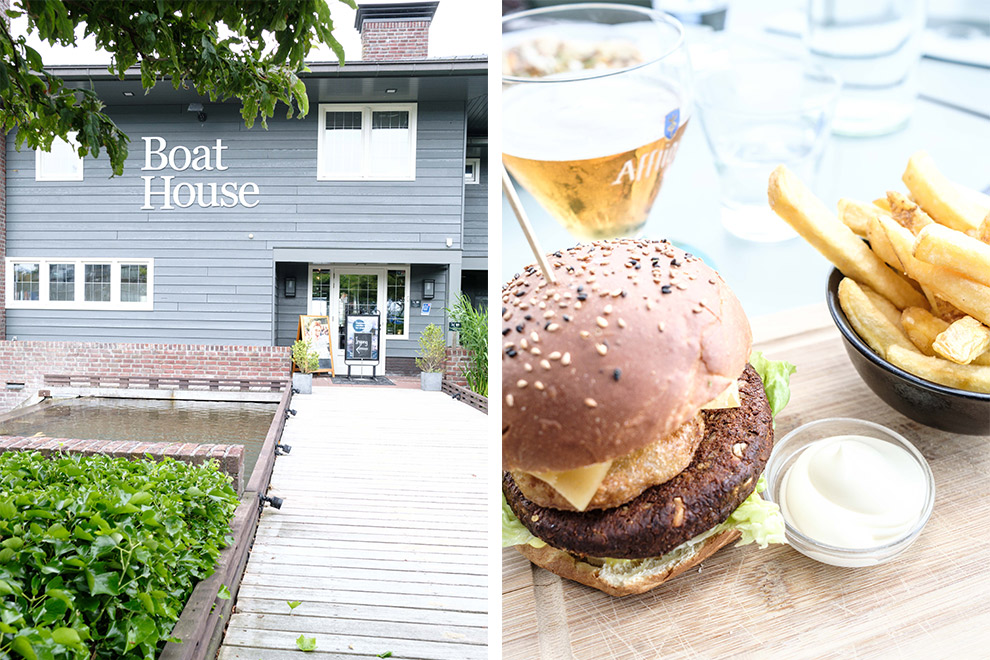 Vega hamburger voor lunch bij Boat House in Almere
