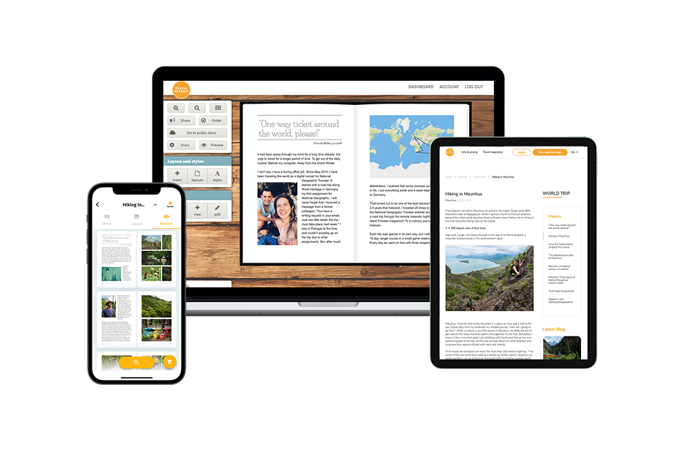 Travel Diaries editor for web, mobiles and tablets