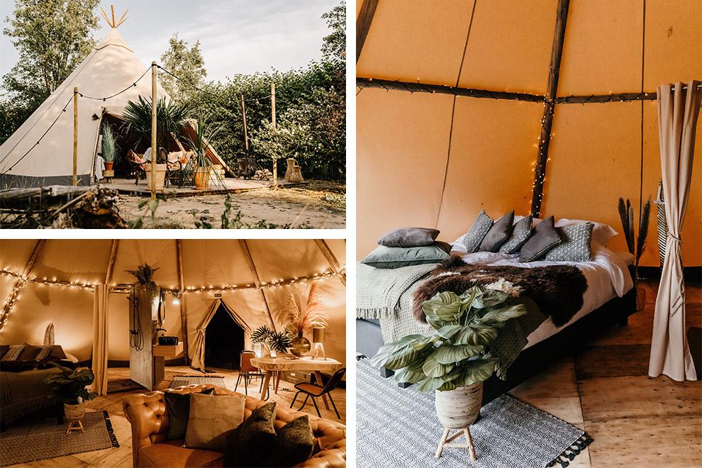 Winters kamperen in de knusse, warm ingerichte tipi tent van Sunfield