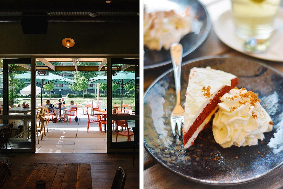 Thee en taart op het sfeervolle terras van T-Huis in Tilburg
