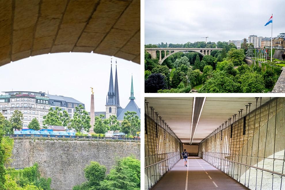 Uitzicht op en vanaf de Adolfsbrug in Luxemburg-stad