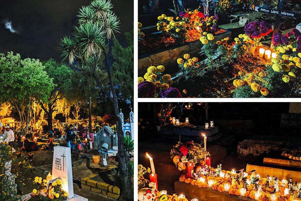 Halloween op een kleurrijk versierd kerkhof net buiten Oaxaca in Mexico