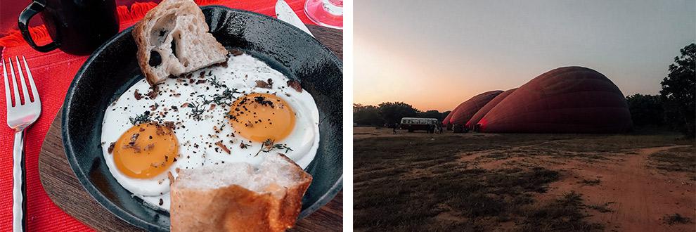 Champagne ontbijt na daling ballonvaart in Bagan