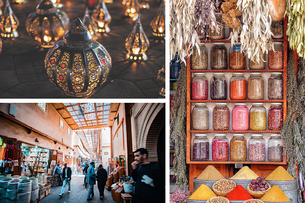 Een collage: struinen over de kleurrijke en rommelige markten van Marrakech