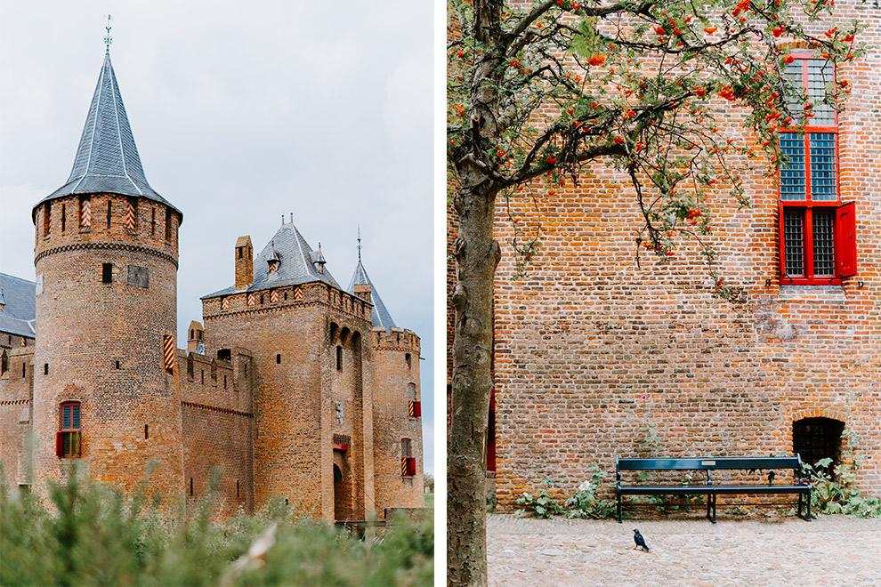 De bruine bakstenen van het Muiderslot kasteel in Muiden