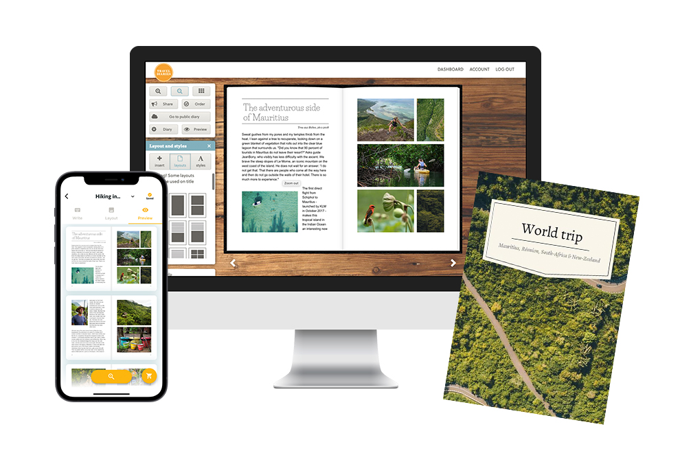 Creating and designing book in web editor or mobile app