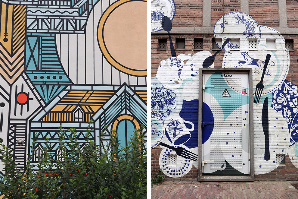 Kleurrijke en artistieke muurschilderingen in centrum Breda