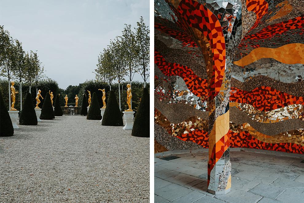 Goede standbeelden en kleurrijke mozaïek in de Grosser Garten in Hannover