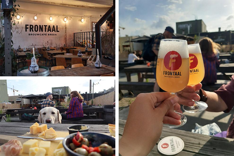 Proosten met bier en borrelplankje bij Brouwcafé Frontaal in Breda