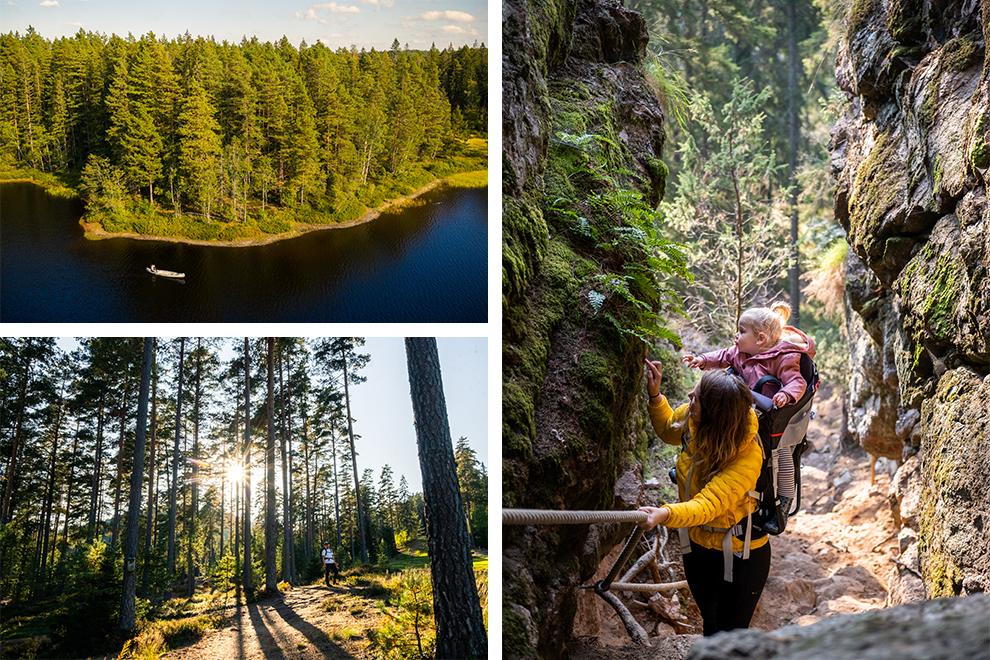 Op avontuur in het Isaberg Mountain Resort met kind achter op en spectaculaire uitzichten