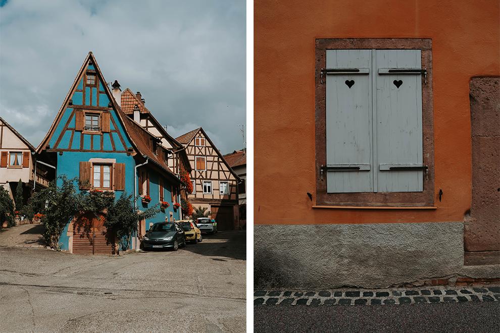 Pastelkleurige vakwerkhuizen in Frans dorpje Elzas