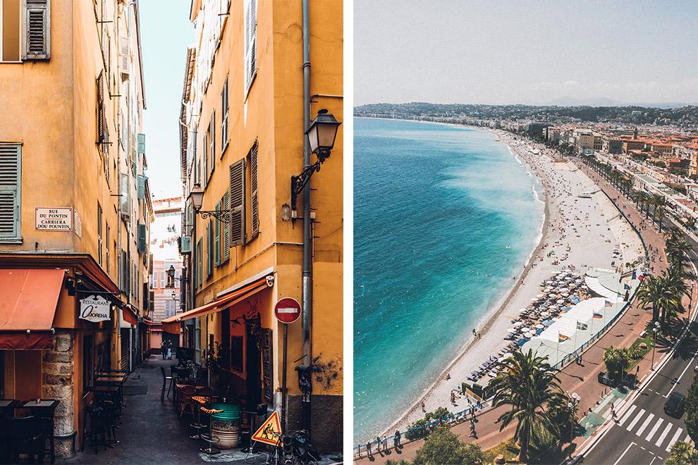 De steegjes en het strand van stad Nice
