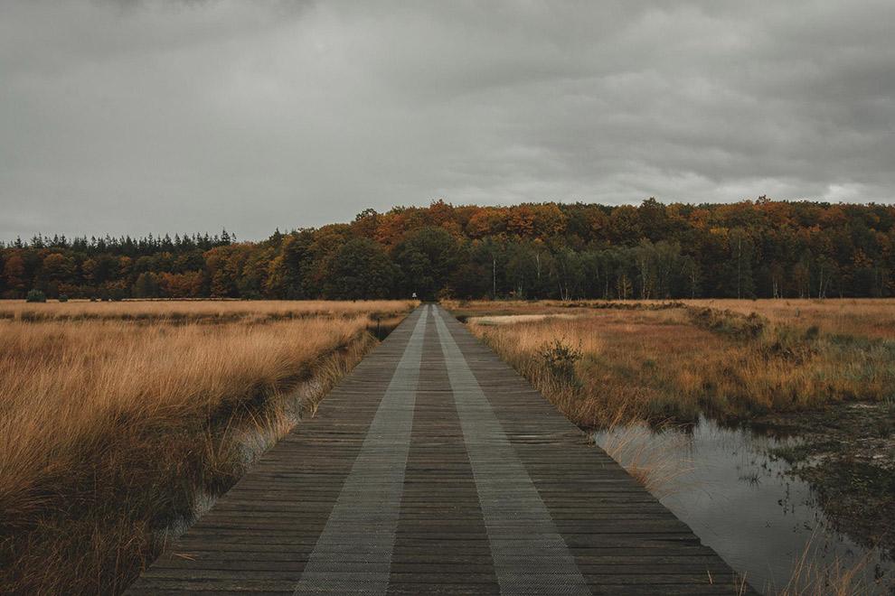 Wandelbrug over water met grijze lucht op de achtergrond