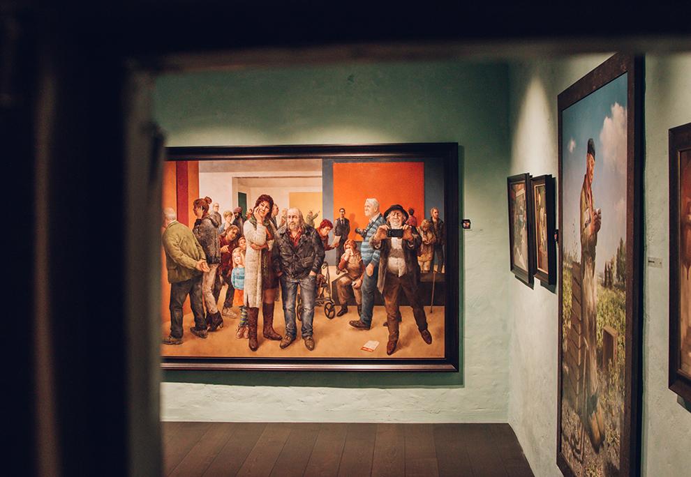 Humoristisch bij de tijds schilderij van Van Dokkum