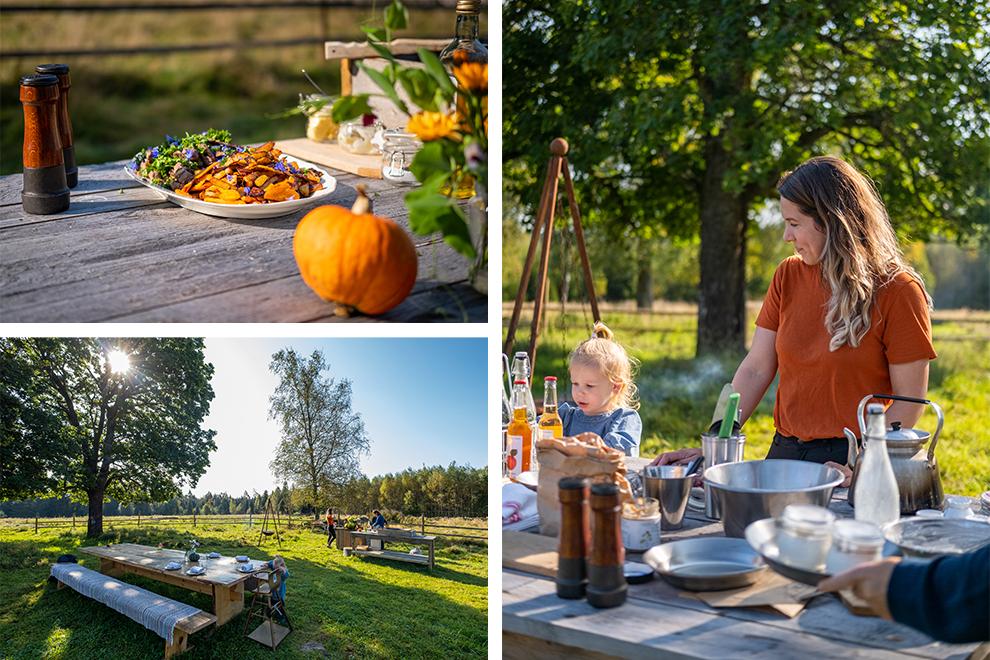 Herfstachtige lunch wordt klaargemaakt op boerderij midden in de natuur