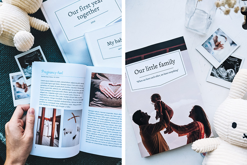 Capture memories from a pregnancy or baby in a designed book