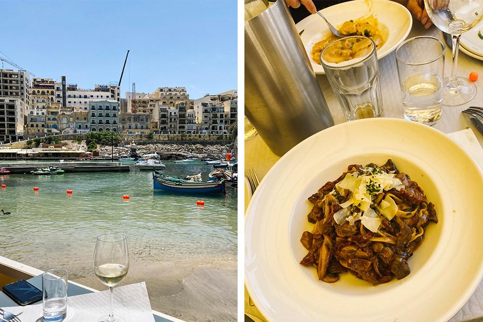 Restaurant met uitzicht op havenplaatsje Xlendi