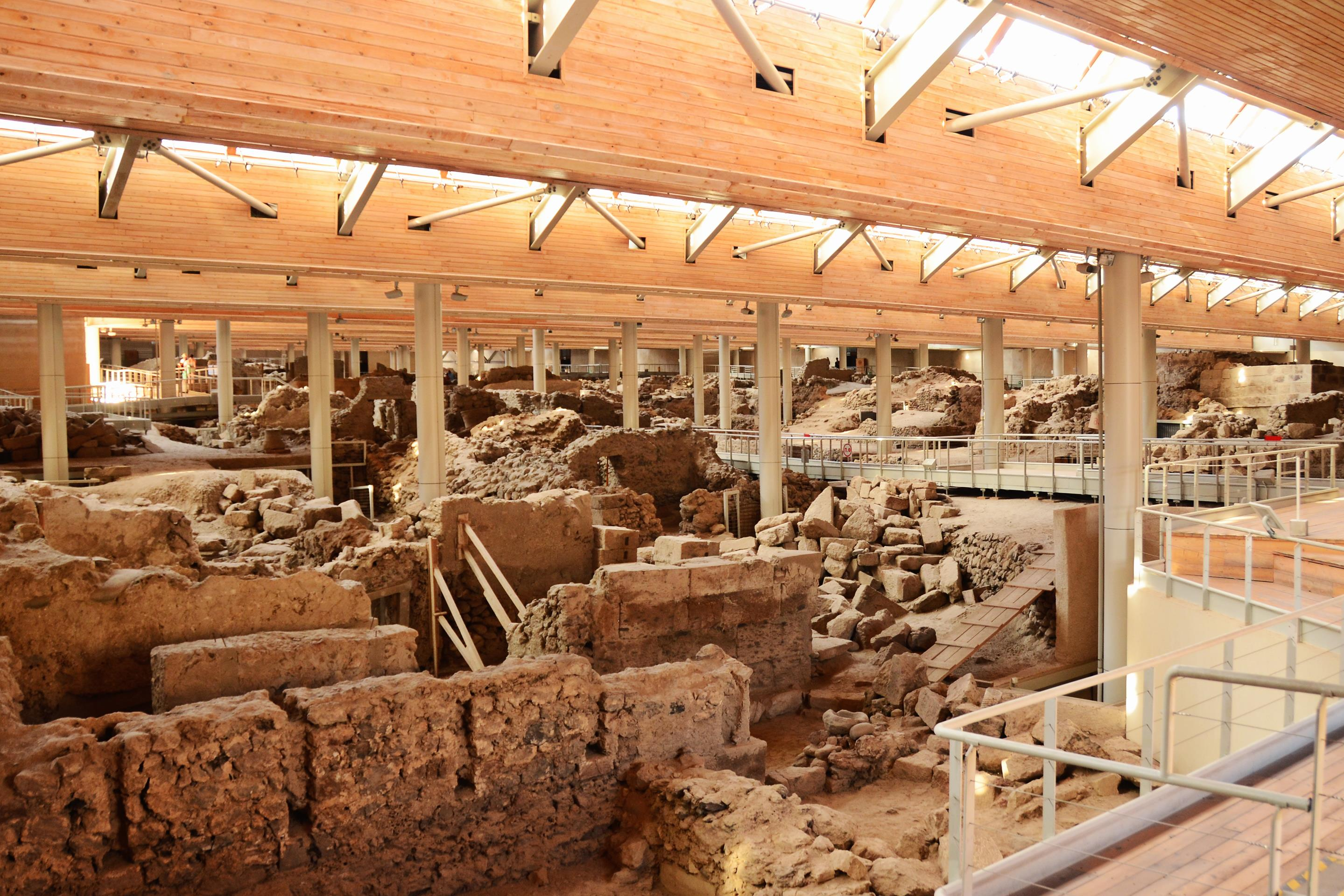 The archaeological excavation of Akrotiri, where unlike Pompeii, no human remains were found.