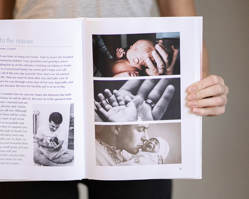 First days with baby captured in photos and texts in a baby book