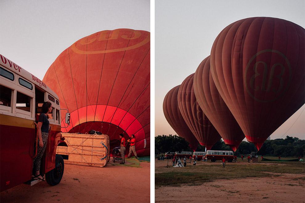 Oude schoolbus brengt ons naar het vertrekterrein van de ballonvaart