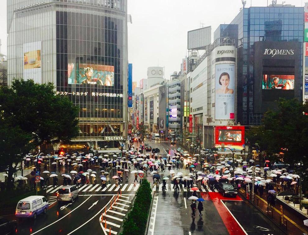 Drukke straat met zebrapad in Tokio