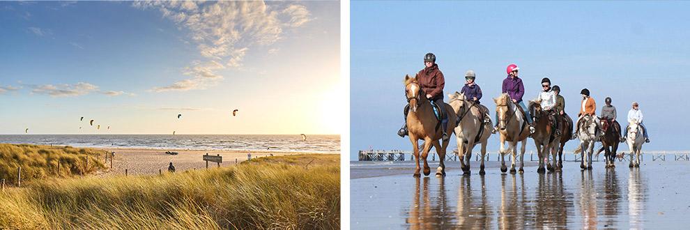 Paardrijden op het strand aan de Frans Atlantische kust